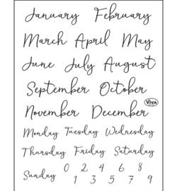 Bujo/Kalender Months & calendar days - Clearstamp A5