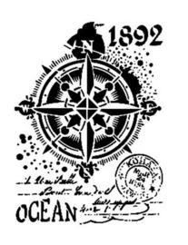 Ocean-Kompas - Stencil