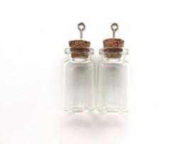 Mini glazen flesjes met kurk & schroef - 2 pcs