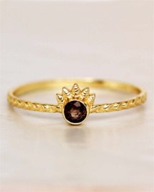 ring - smokey quartz dot