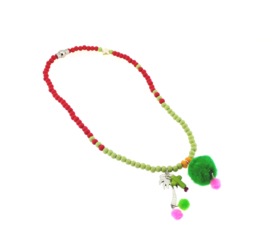 Ketting red green pompon
