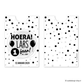 Traktatie knijpfruit wikkel 'Hoera!' DIY
