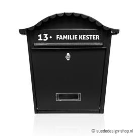 Brievenbus sticker 'Huisnummer + Naam'