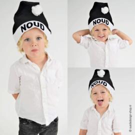 Kerstmuts zwart wit met naam