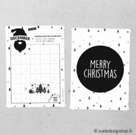 December aftelkalender + Poster  'Merry Christmas'