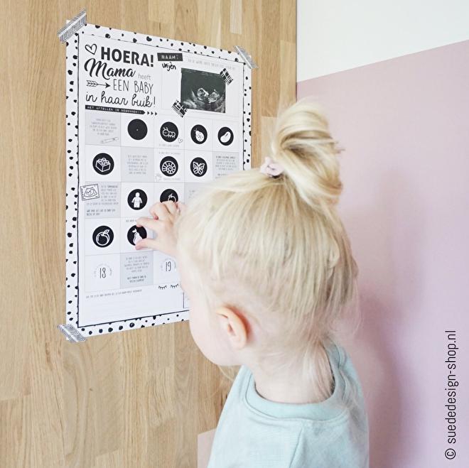 Zwangerschap aftelposter - Suede design SHOP