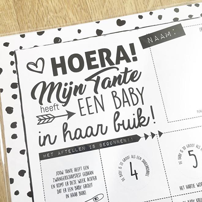 Zwangerschap aftelposter 'Tante' - Suede design SHOP