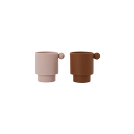 OYOY - TINY INKA CUP SET VAN 2 - CARAMEL / ROSE