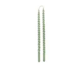 RUSTIK LYS - KAARS SWIRL 1,2x30cm SET VAN 2 - DUSTY GREEN
