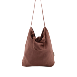 MONK & ANNA - BAYA WASHED LINEN SHOPPER - CHESTNUT