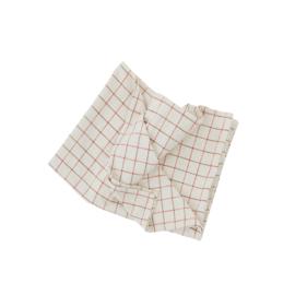 OYOY - GRID TABLECLOTH / TAFELKLEED 200X140cm - OFFWHITE / RED