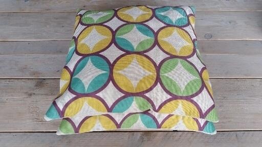 kussen retro groen/geel/paars/zandkleur