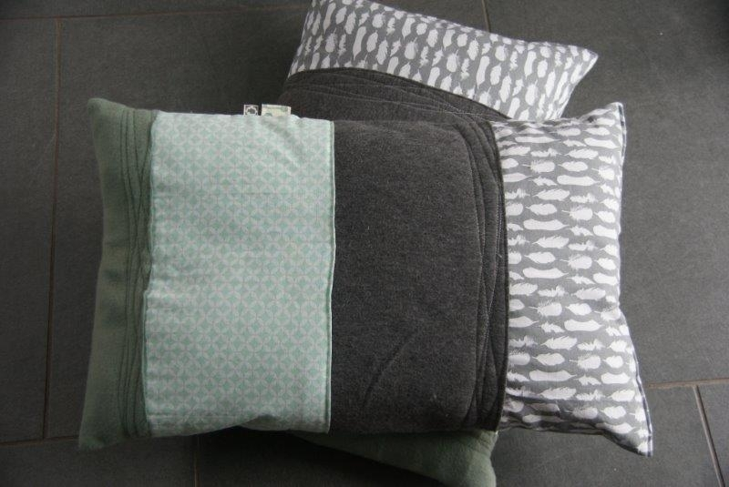 kussen grijs/groen, langwerpig