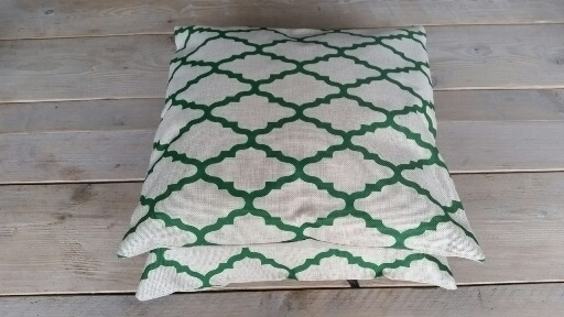 kussen retro groen/zandkleur
