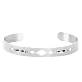 Roestvrij stalen armband (RVS) open met miyuki kralen stainless steel Zilver-Black