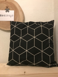 Kussen Hexagon Zwart Wit