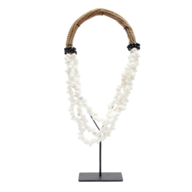 THE WHITE & BLACK SHELL NECKLACE ON STAND