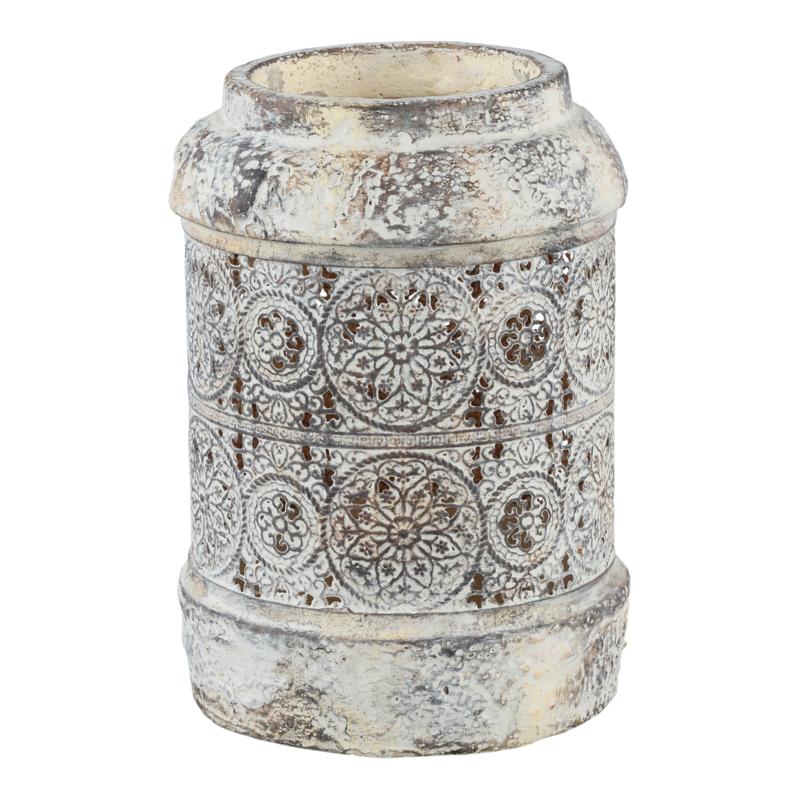 Elle Sand Ceramic Latern Bloem Pattern Round L