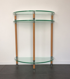 Halfronde sidetable chroom/beuken