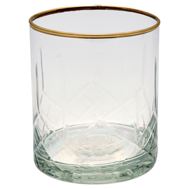 whiskyglas clear diamond cutting w/gold
