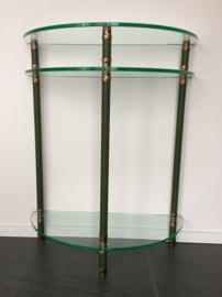 Halfronde sidetable brons/groen lederlook