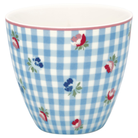Greengate Latte cup/beker Viola check pale blue.