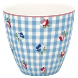 Greengate Latte cup/beker Viola check pale blue.