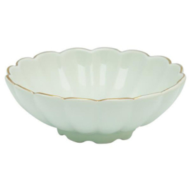 Greengate Lotus bowl pastel green with golden edge.