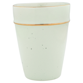 Greengate Cup pale green with gold rim