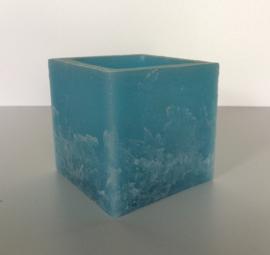 Holle kaars vierkant lichtblauw