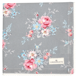 Greengate Napkin with lace Marie pale grey 40x40cm