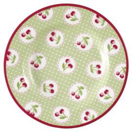 Greengate gebaksbord Cherry berry p. green