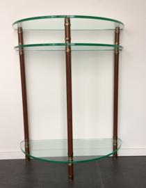 Halfronde sidetable brons/mahonie