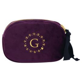 Greengate Suede cosmetic bag plum met logo