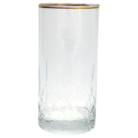 Waterglas clear diamond cutting w/gold large