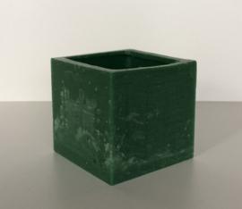 Holle kaars vierkant groen