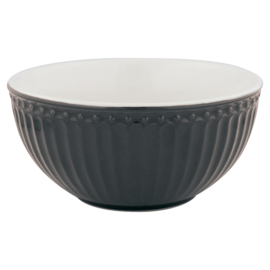Greengate Cereal bowl Alice dark grey.