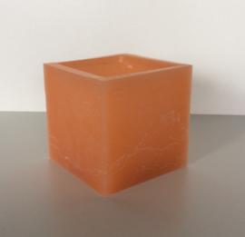 Holle kaars vierkant licht oranje