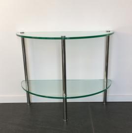 Bijzettafel halfrond chroom/glas