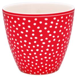Latte cup/beker Dot red