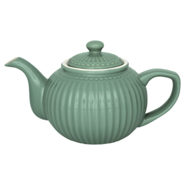 Greengate Theepot Alice dusty green.