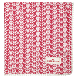 Greengate Napkin with lace Nancy red 40x40cm