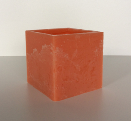 Holle kaars vierkant oranje
