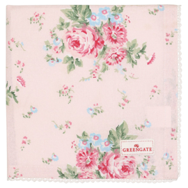Greengate Napkin with lace Marley pale pink 40x40cm