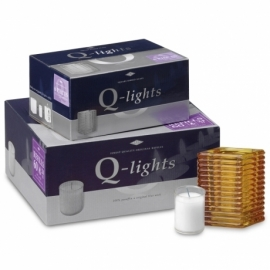 Q-Lights® Square ribbed glass amber