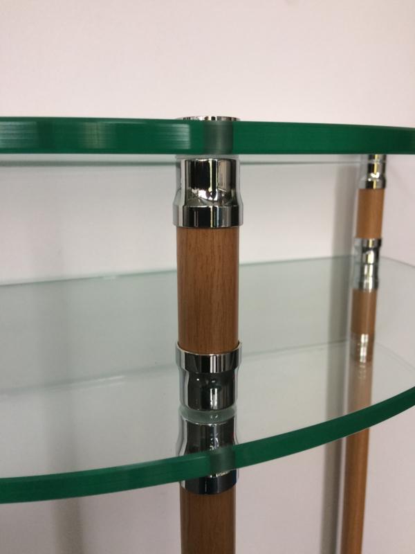 Halfronde Glazen Sidetable.Console Halfrond Glas