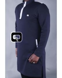 Qabail tuniek donkerblauw met wit