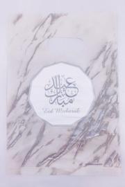 Snoepzakjes eid mubarak zilver marmer