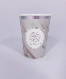 Beker eid mubarak zilver marmer
