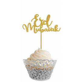 Cupcakeprikker Eid Mubarak glitter - Goud (6 stuks)